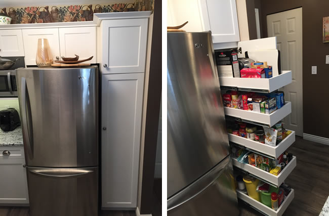 Kitchen pantry with pull-out drawers